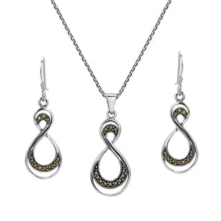 Double Eternity Marcasite .925 Silver Necklace Earrings Set (Thailand)