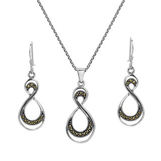 Handmade Double Eternity Marcasite .925 Silver Necklace Earrings Set (Thailand)