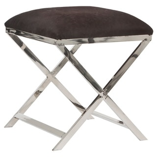 Square Stool with Brown Cowskin and Steel Legs