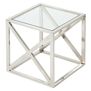 Urban Designs Square Nickel And Glass Accent Table