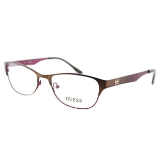 Guess GU 2398 BRNBU Matte Brown Burgundy Metal Cat-Eye 53mm Eyeglasses