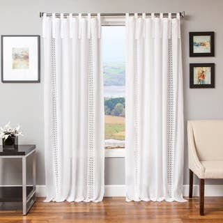 Softline Tie Tab Cotton and Linen Macrame Curtain Panel|https://ak1.ostkcdn.com/images/products/11678958/P18606432.jpg?impolicy=medium