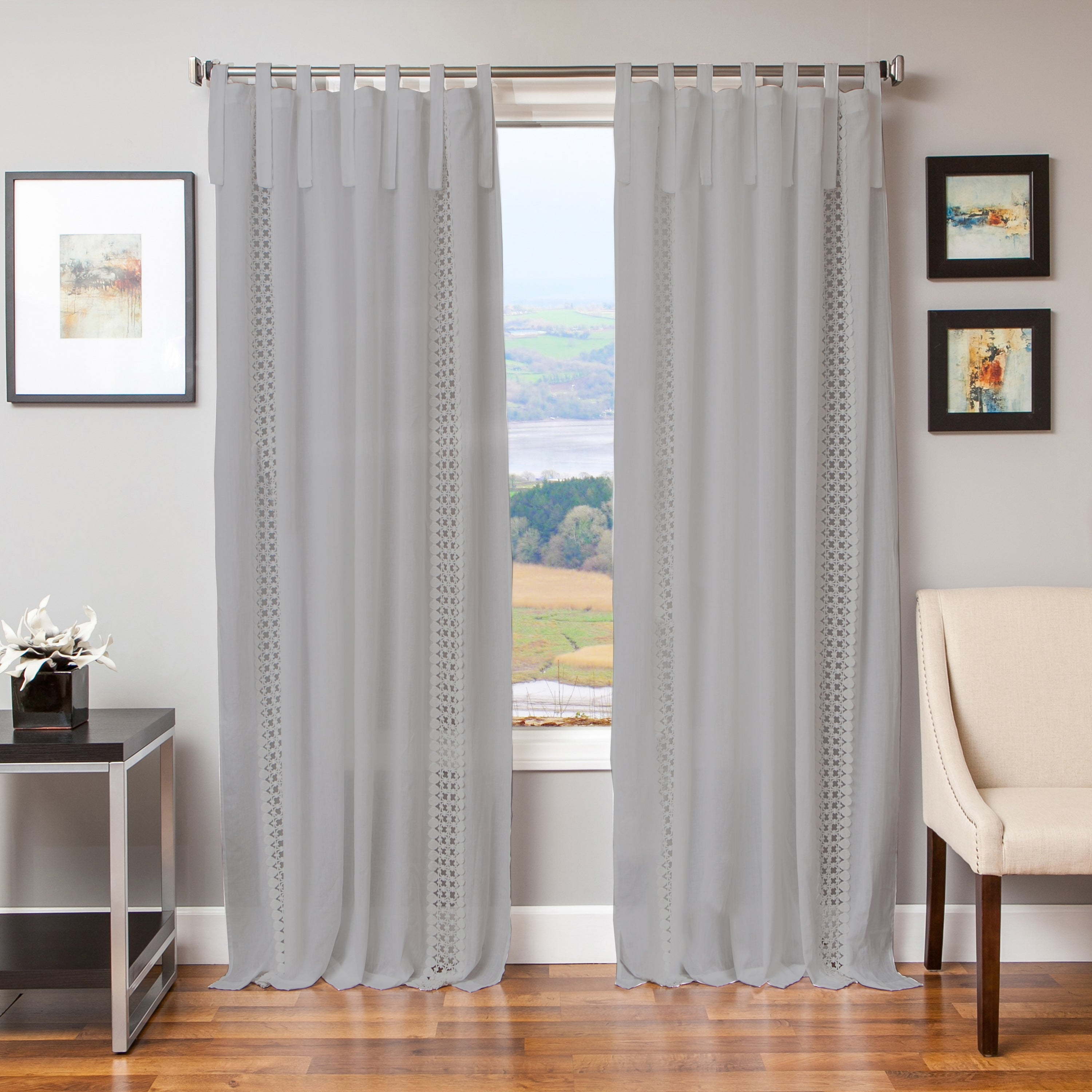 Softline Tie Tab Cotton and Linen Macrame Curtain Panel (...