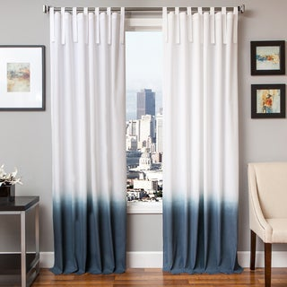 Softline Tie Tab Ombre Cotton and Linen Curtain Panel