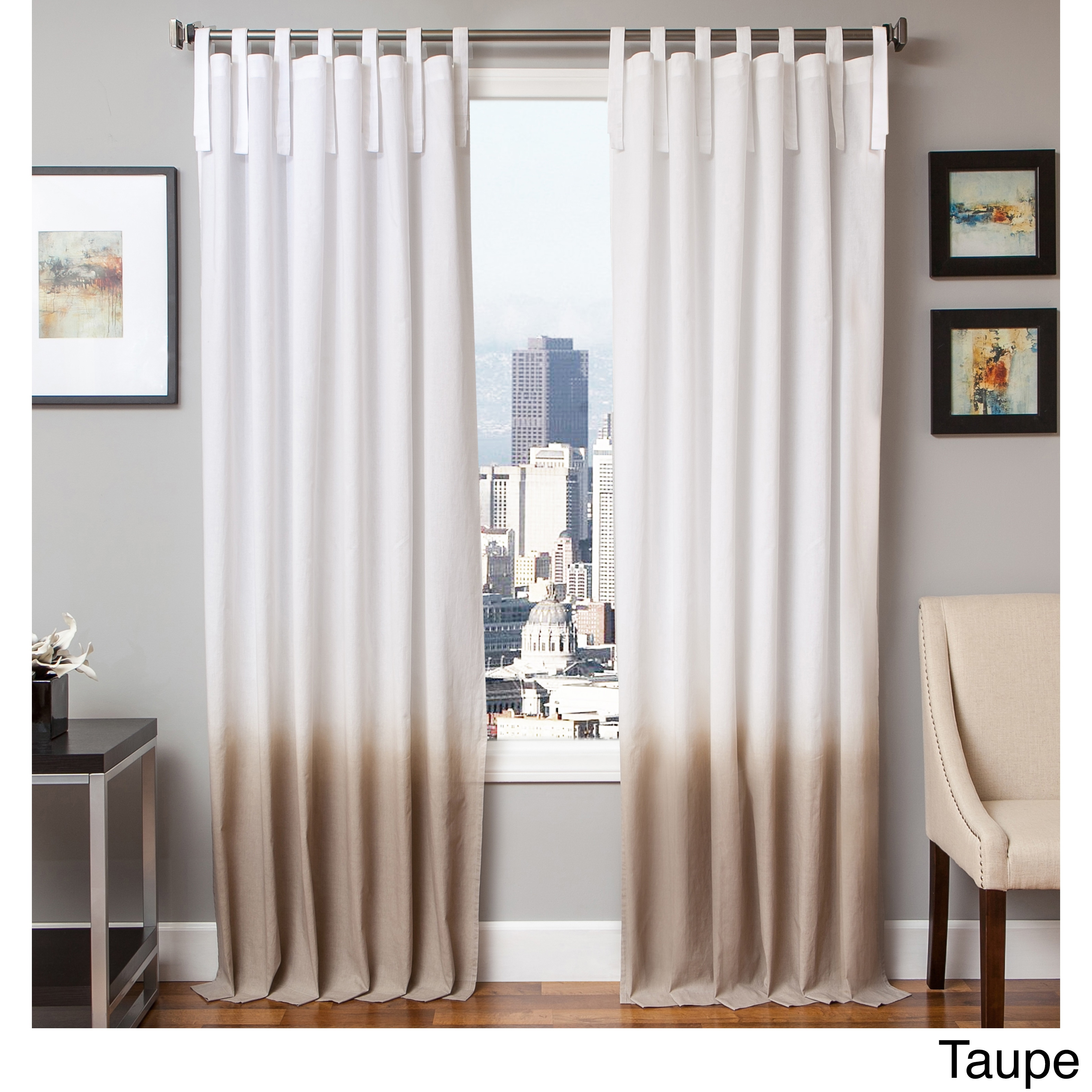 Softline Tie Tab Ombre Cotton And Linen Curtain