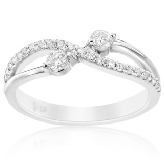 SummerRose 14k White Gold 1/3ct TDW Diamond 2 Stone Ring