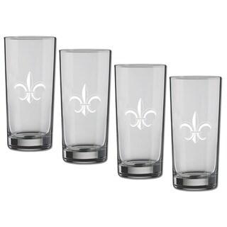 Kasualware 16-ounce Glass Highball Fleur de Lis (Set of 4)