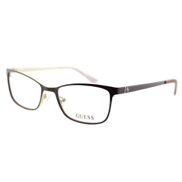 812164ab0a Guess GU 2516 048 Shiny Dark Brown on Gold Plastic Cat-Eye 49mm Eyeglasses