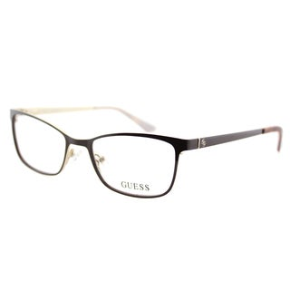 Guess GU 2516 048 Shiny Dark Brown on Gold Plastic Cat-Eye 49mm Eyeglasses