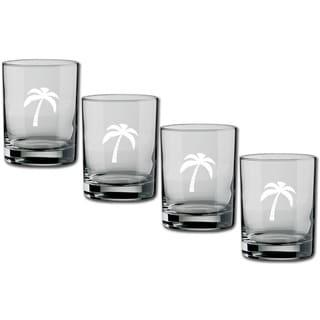 Kasualware 14-ounce Glass DOF Palm Tree (Set of 4)