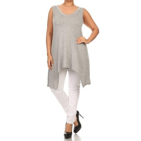 MOA Collection Plus Size Women's Sleeveless V Neck Top with Asymmetrical Hem