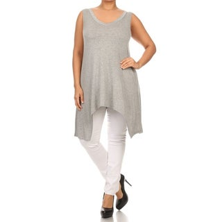 MOA Collection Plus Size Women's Sleeveless V Neck Top with Asymmetrical Hem