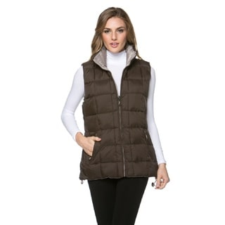 High Secret Women's Brown Puffy Reversible Vest
