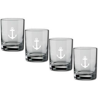 Kasualware 14-ounce Glass DOF Anchor Blue (Set of 4)