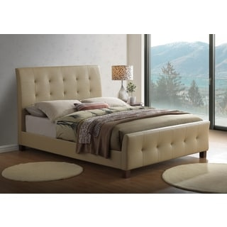 Global Furniture Taupe PU Leather Tufted Queen Platform Bed