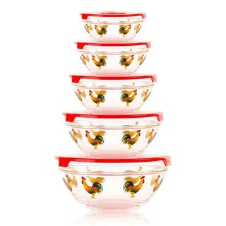 10 Piece Glass Bowl or Food Storage Bowls Set with Red Lids - Avian Design