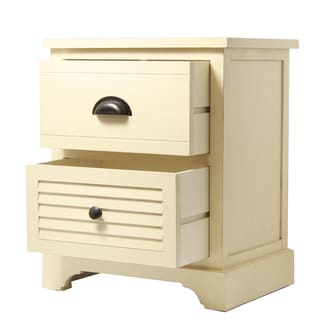 Ella Collection Cream Two Drawer Nightstand Evening Table