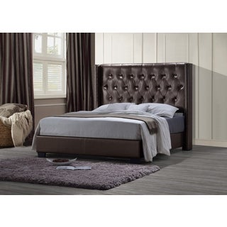 Global Furniture Gloss Brown PU Leather Tufted Queen Bed