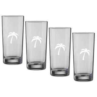 Kasualware 16-ounce Glass Highball Palm Tree (Set of 4)