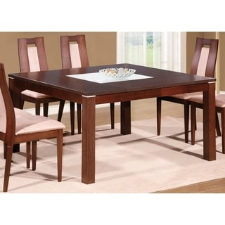 Square Dining Table with Chestnut Finish and Frosted Glass Inlay