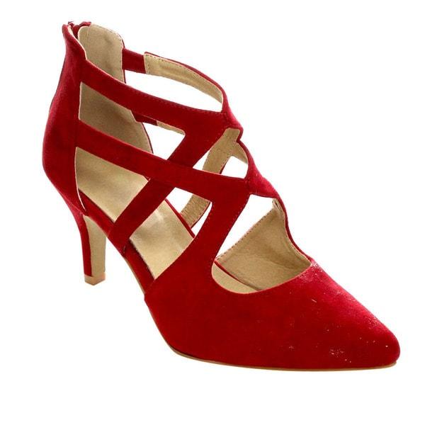 cab3372a456 Shop Refresh AC23 Women's Criss Cross Kitten Stiletto Heels(Half A ...