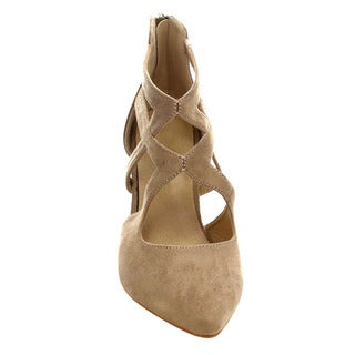 Refresh AC23 Women's Criss Cross Kitten Stiletto Heels(Half A Size Small)