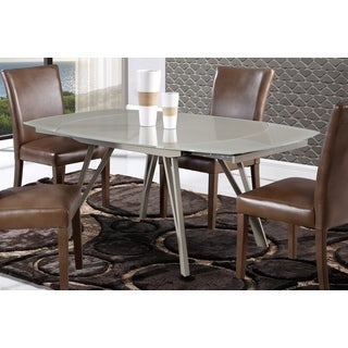 Dining Table with Glass Top and Metal Base