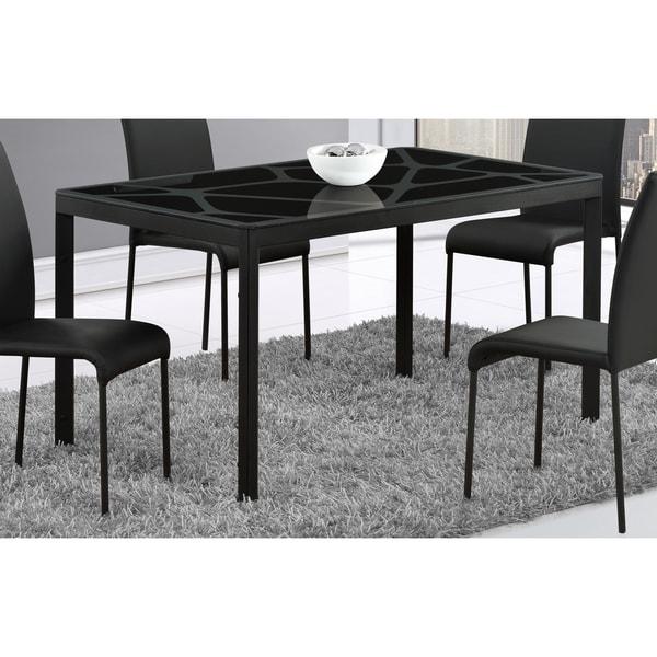 Shop Global Furniture Black Crackle Glass Top Dining Table