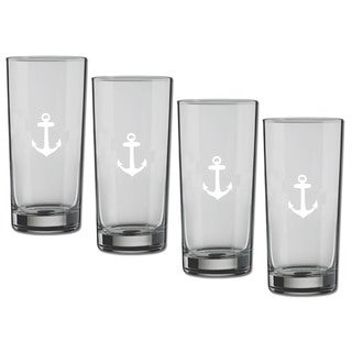 Kasualware 16-ounce Glass Highball Anchor Blue (Set of 4)