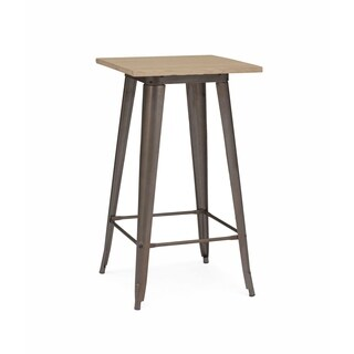 Amalfi Rustic Matte Plus Light Elm Wood Top Steel Bar Table 42 inches
