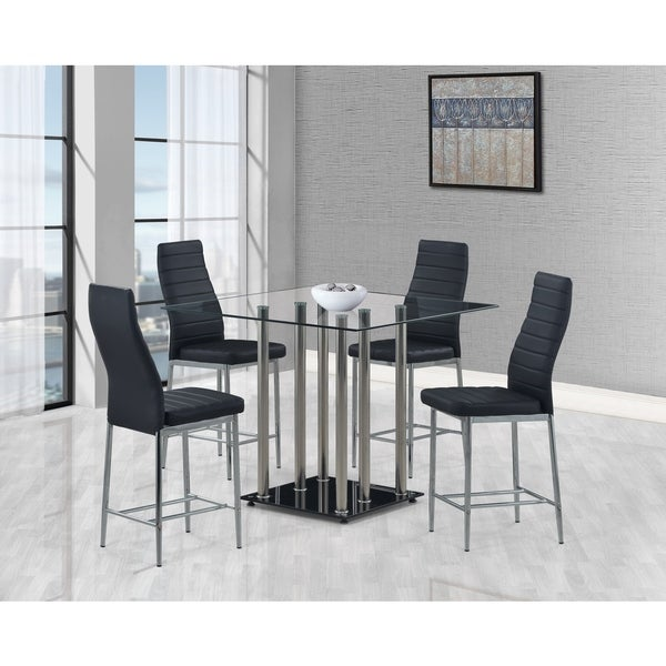 Global Furniture Black Glass Square Bar Table Free Shipping Today 18606615