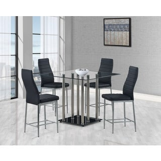 global furniture black glass square bar table