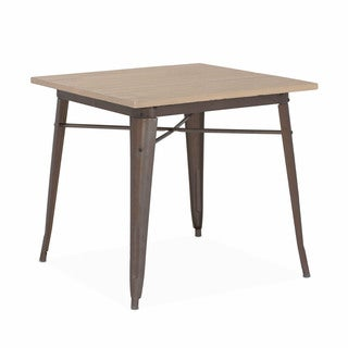 Amalfi Rustic Matte Light Elm Wood Top Steel Dining Table 30 Inch - Tan/Brown/Rust