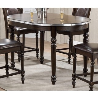 Oval Bar Table in Dark Brown with Silver Accents