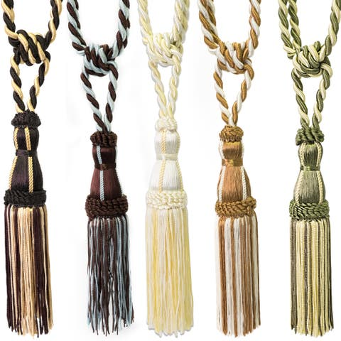 Two-Tone Tassel Curtain Tie Back (Pair) - 11 inches - 11 inches