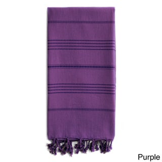 Authentic Pestemal Fouta Sol Tonal Stripe Turkish Cotton Bath/ Beach Towel (Option: Purple)