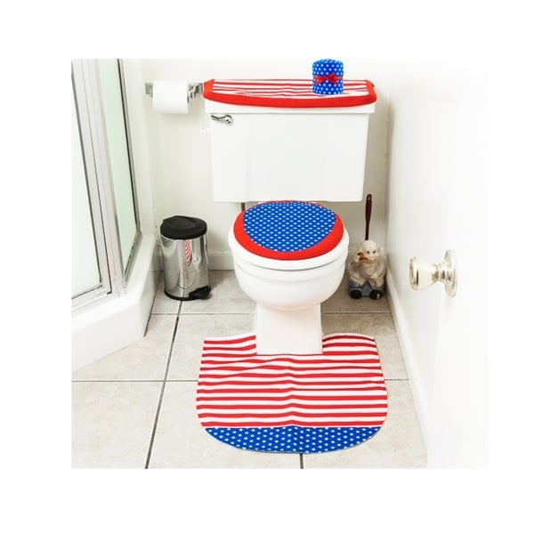 4th of July Decorations Patriotic Toilet Seat Cover and Rug Bathroom Decor Set - red/white