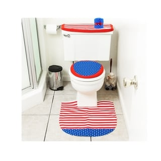 4th of July Decorations Patriotic Toilet Seat Cover and Rug Bathroom Decor Set