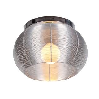 Lenox 1 Light Round Silver Flush Mount