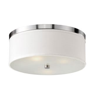 Braxton 20-Inch Round White and Nickel Flush Mount