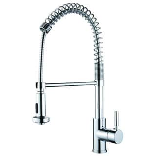 Y-Decor 'Foreman' Polished Chrome Finish Single Handle Pull-out Kitchen Faucet with Single Hole Mount Pull-out Sprayer|https://ak1.ostkcdn.com/images/products/11679361/P18606801.jpg?impolicy=medium