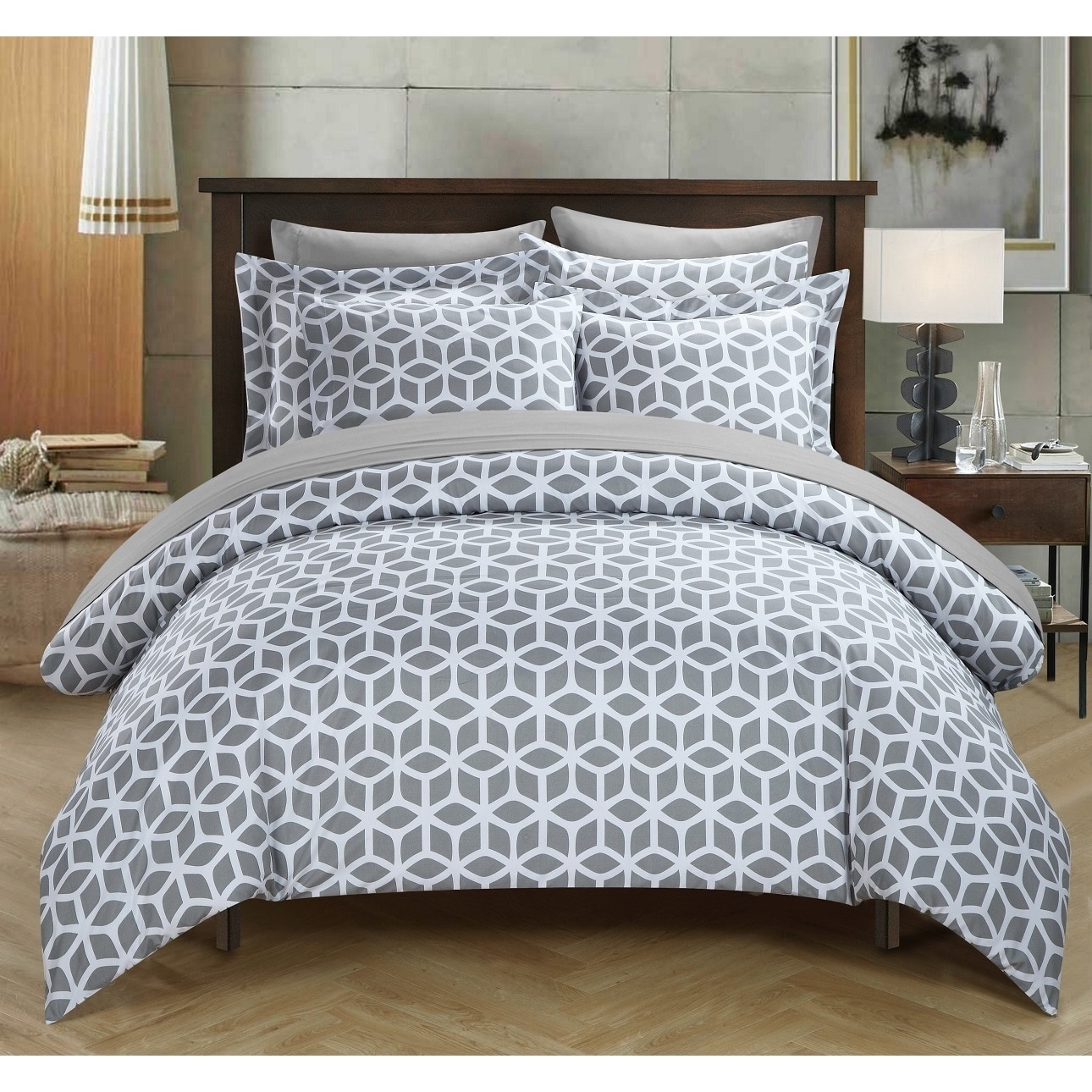 Chic Home Lovey Grey 3-piece Duvet Cover Set
