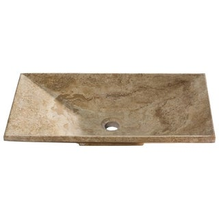 Beige Travertine Rectangular Stone Vessel Sink with Textured Exterior