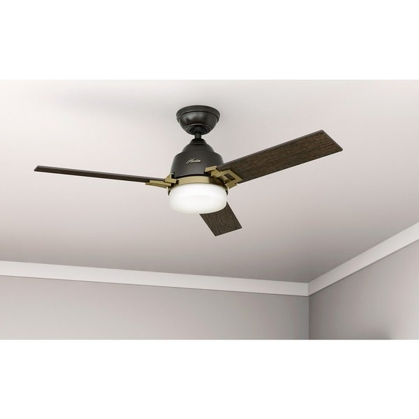 "Hunter Summerlin 48 Noble Bronze Ceiling Fan With Light: Hunter Fan Leoni 48"" Noble Bronze And Modern Brass W/3"