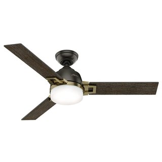 "Hunter Fan Leoni 48"" Noble Bronze and Modern Brass w/3 Dark Walnut/Black Oak Reversible Blades"
