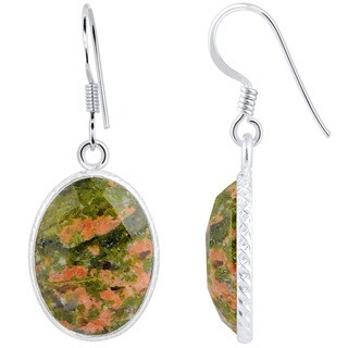 Orchid Jewelry Sterling Silver 16 2/3ct.Unakite Jasper Handmade Dangle Earrings