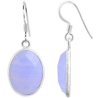 Orchid Jewelry Sterling Silver 15 2/3ct. Blue Lace Agate Gemstone Dangle Earrings