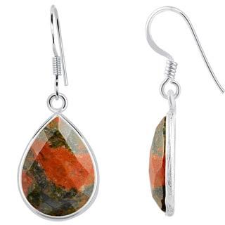 Orchid Jewelry Sterling Silver 16 4/5ct. Unakite Jasper Gemstone Dangle Earrings