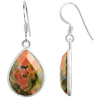 Orchid Jewelry Sterling Silver 16 4/5ct. Unakite Jasper Pear Shape Dangle Earrings