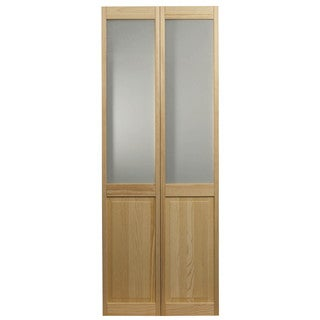 AWC 957 Frosted Half Glass 30-inch x 80.5-inch Unfinished Bifold Door